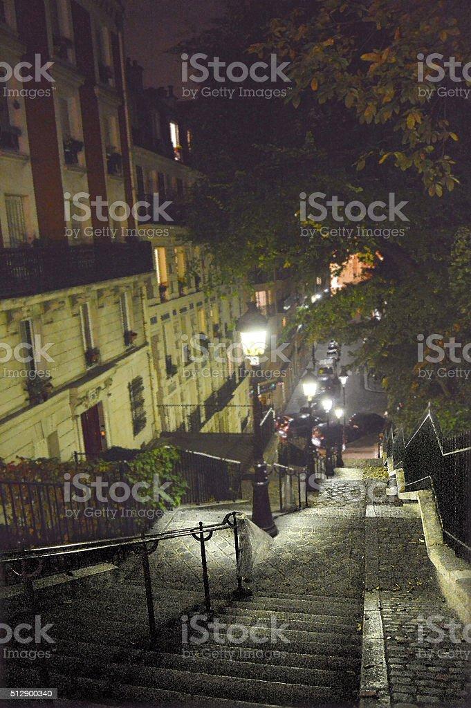 Dark Stairwells of Montmartre District Paris stock photo