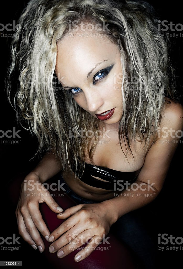 dark staring woman stock photo