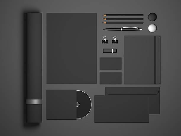 dark stationery brand mock-up 3d illustration - umschlagsvorlagen stock-fotos und bilder