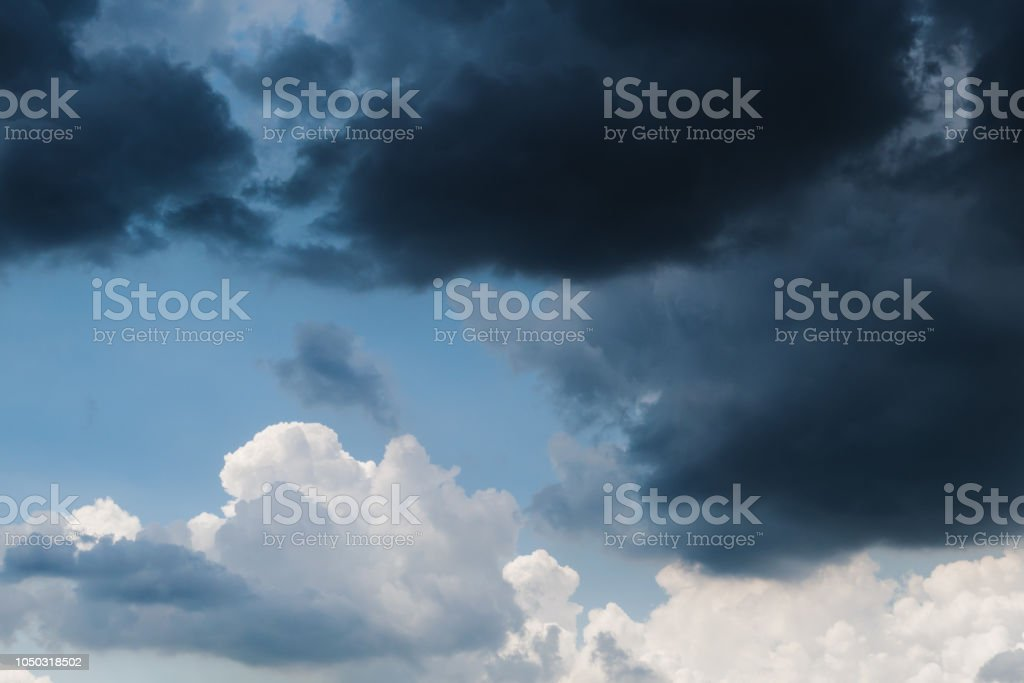 Dark storm cloud covering the sky stock photo