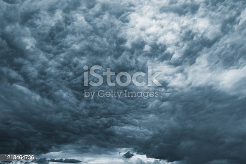 1089986346 istock photo Dark storm clouds before rain at evening time. 1218464736