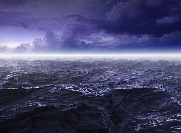 Dark stormy Sea Waters at Night stock photo