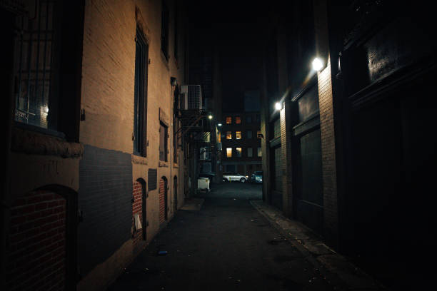 dark street urban slums at night alley stock pictures, royalty-free photos & images