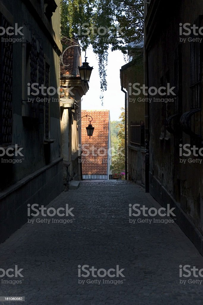 Dark street stock photo