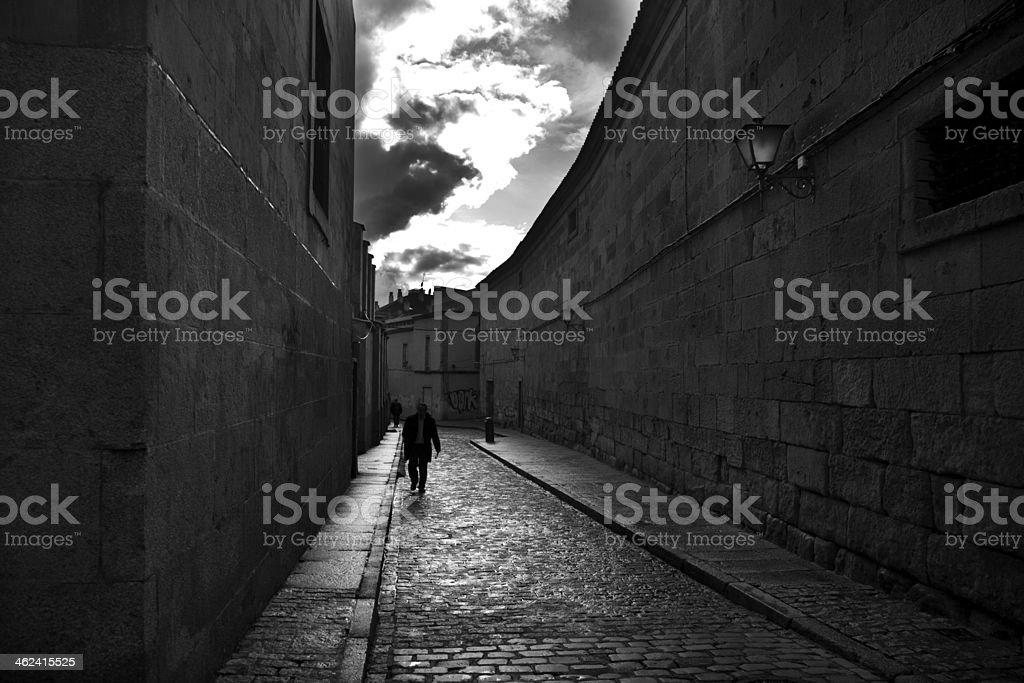Dark street stone stock photo