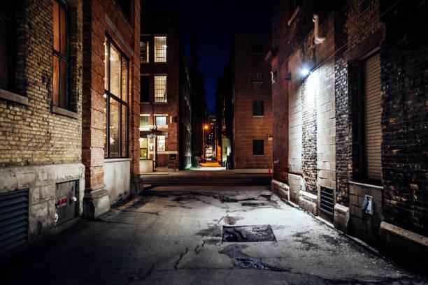Dark streets - Third Ward district, Milwaukee stock photo