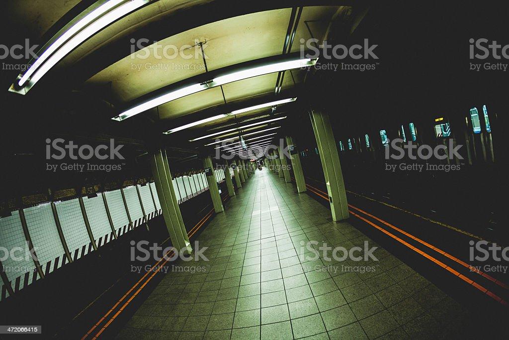 Dark Subway Train Station In Manhattan 5th Avenue royalty-free stock photo