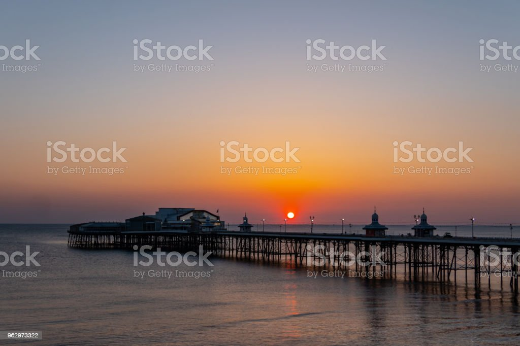 Dark sunset over the pier in Blackpool, Lancashire stock photo