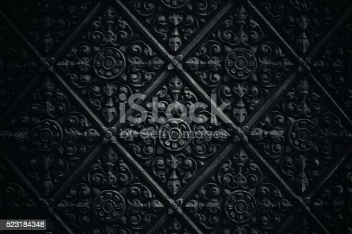 Dark wall pattern of exterior wall of a buddhist temple.