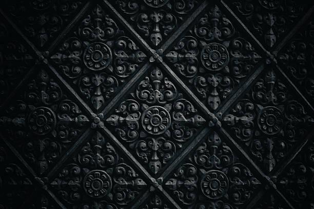 Dark temple wall pattern stock photo