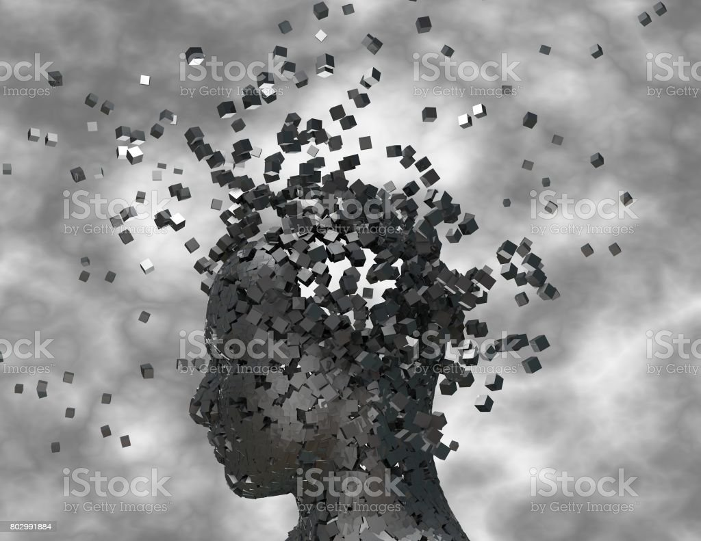 Dark thoughts, negative thinking and emotions concept 3D rendering. stock photo