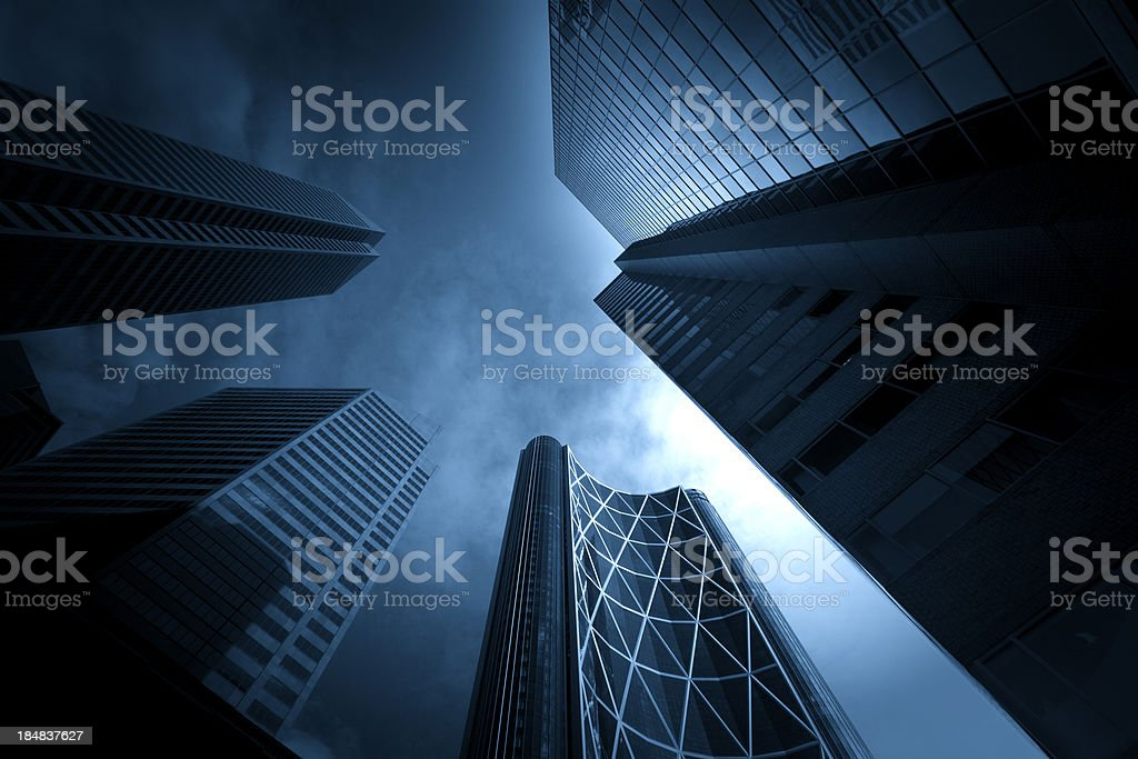 Dark Towering Buildings stock photo