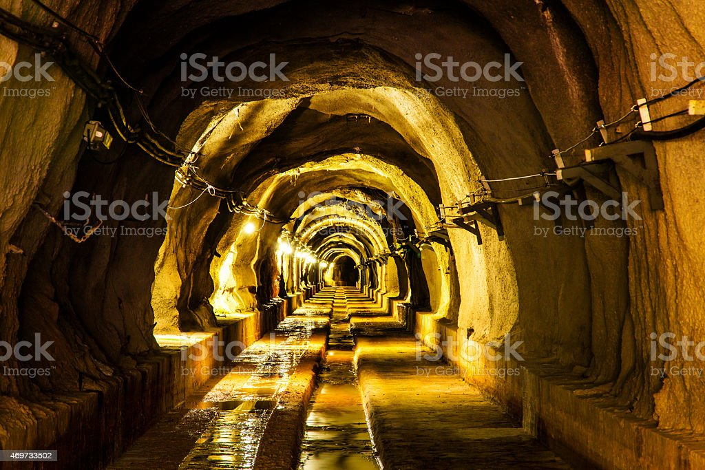 dark tunnel with light stock photo