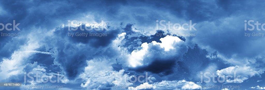 Dark Turbulent Storm Ominous Night Sky and Clouds stock photo