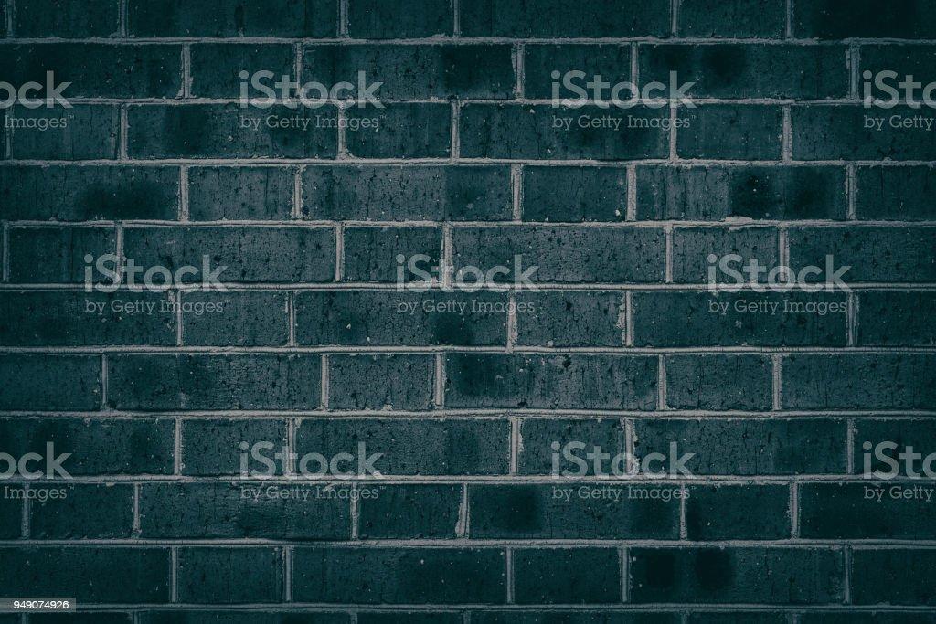 Texture de mur de brique turquoise foncé pour le fond - Photo