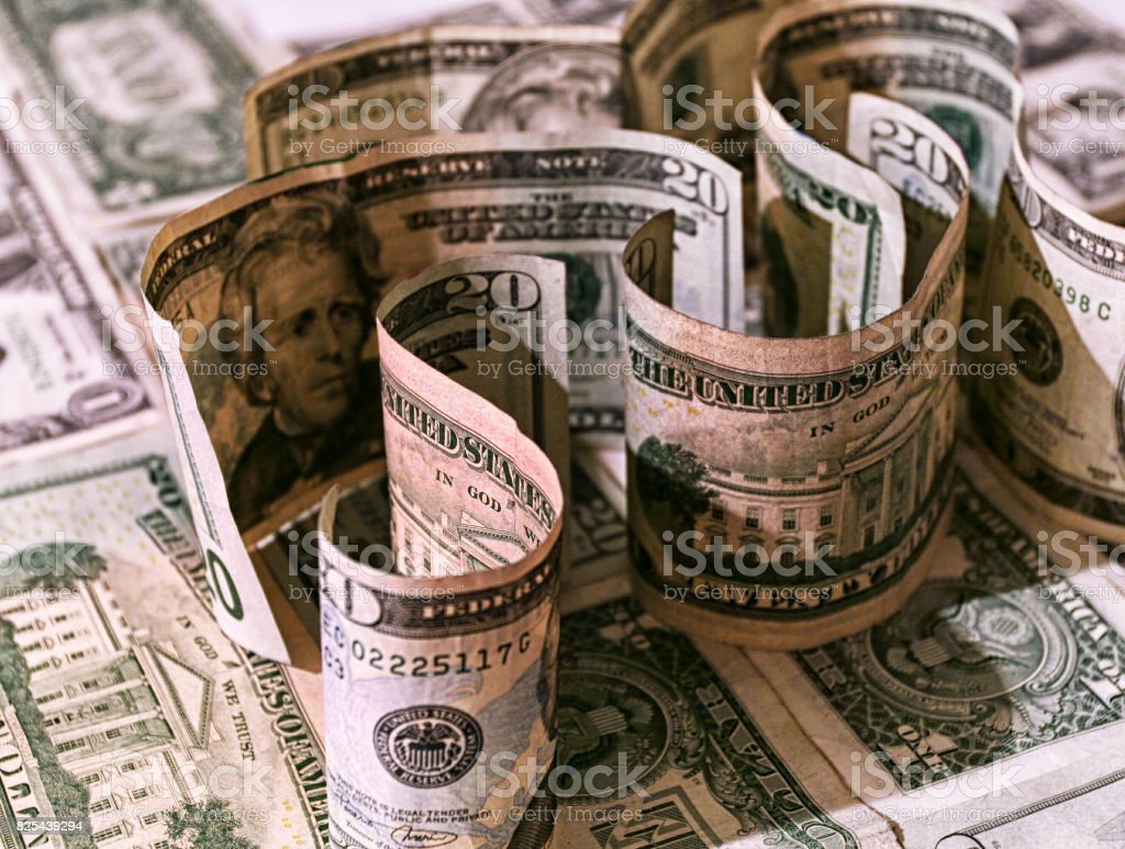 Dark Twisted USA Currency Money Maze stock photo