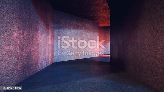 Dark underground tunnel.