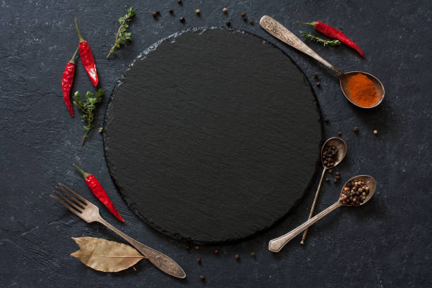 Dark vintage stone culinary background. Top view. Copy space stock photo