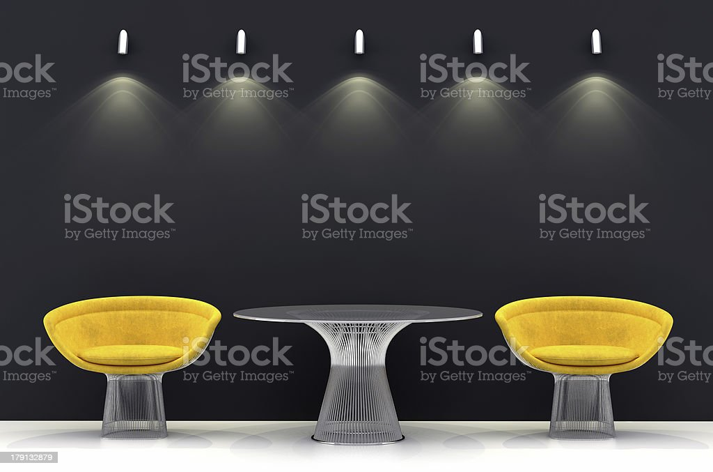 Dark wall with light and waiting room like setup royalty-free stock photo