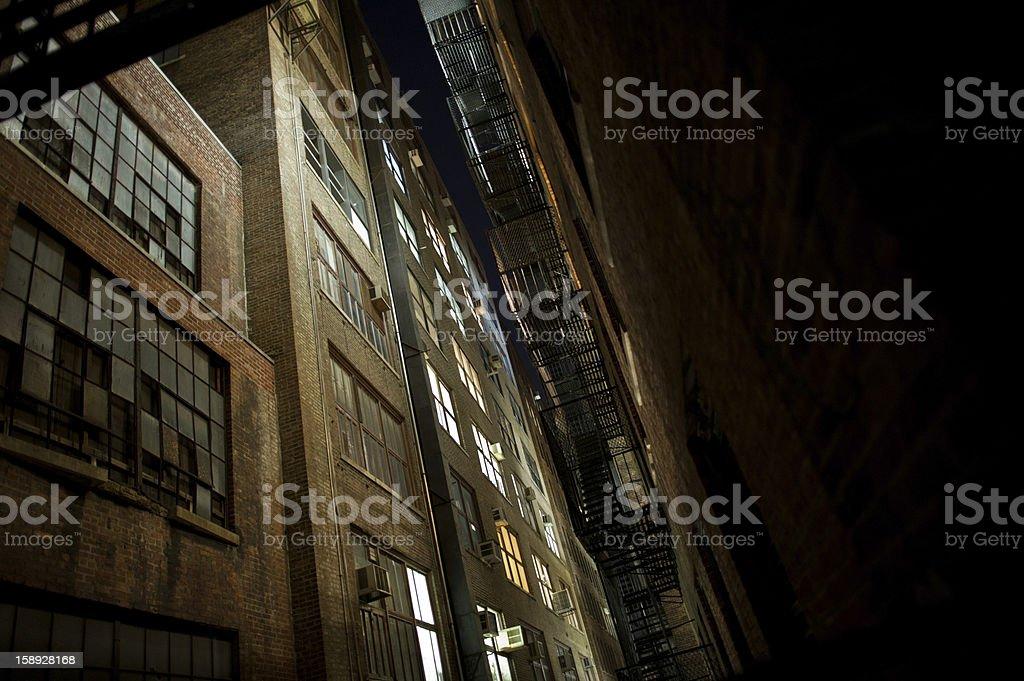 Dark warehouse alley stock photo
