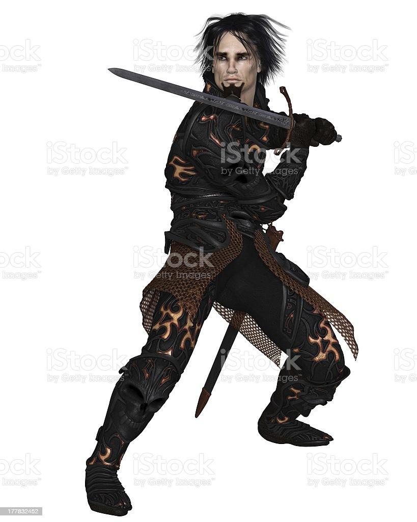 Dark Warrior with Sword Raised royalty-free stock photo