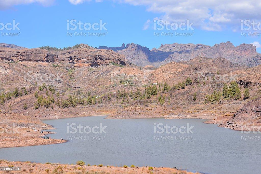 Dark Water Lake in Gran Canaria stock photo
