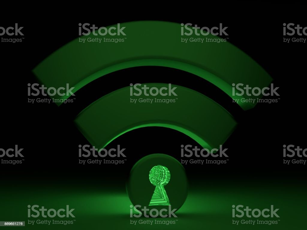 Dark wifi sybol with glowing green keyhole backdoor concept stock photo