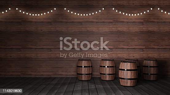 Dark wood background with beer barrels and lights
