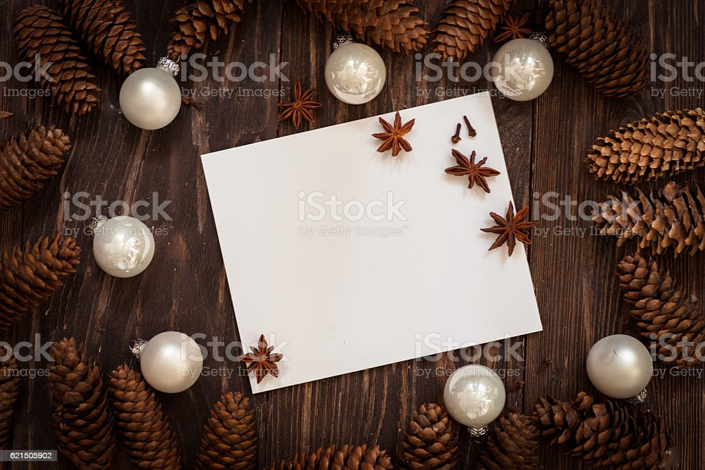 dark wood background with cones with copy space for text foto stock royalty-free
