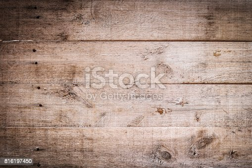 istock dark wood brown aged plank texture, vintage background 816197450