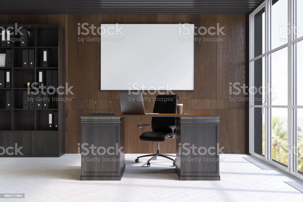 Dunkles Holz Ceo Office Interieur Plakat Stockfoto Und Mehr Bilder