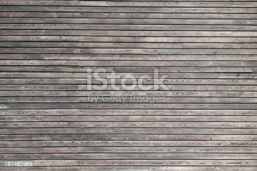 Planar view of a dark wood cladding of a modern building.