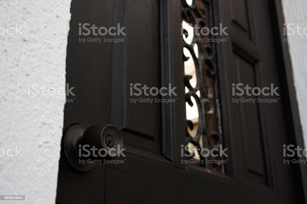 Dark Wood Front Door Lock Knob Close-up - Royalty-free Accessibility Stock Photo