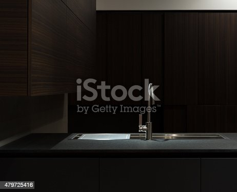 Clean and Minimalist Kithen Cabinets and Worktop with Stainless Steel Kitchen Sink