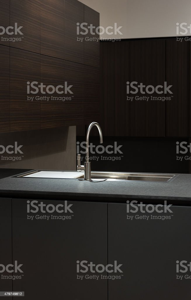 Clean and Minimalist Kithen Cabinets and Worktop with Stainless Steel...