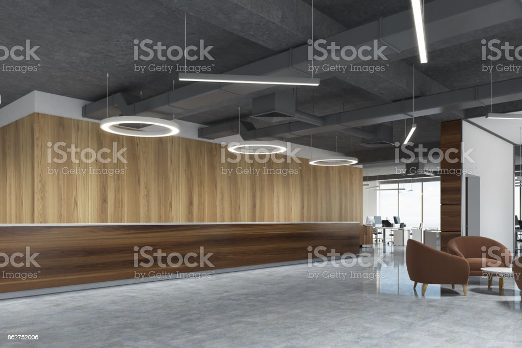 Sombre bois réception au bureau de lampe rond côté u photos et
