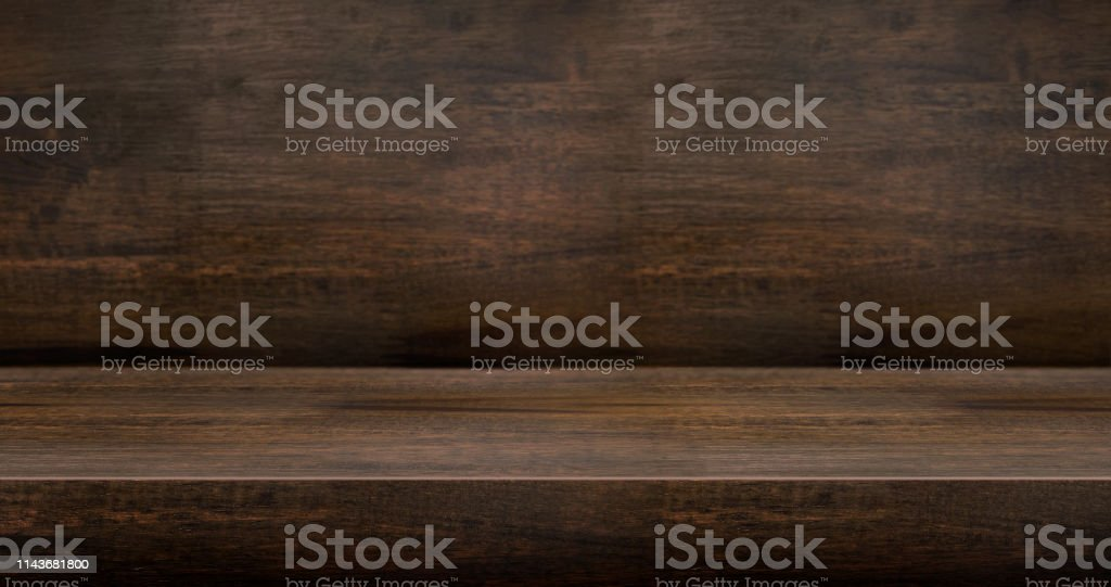 3D dark wood table studio background textured for product display...