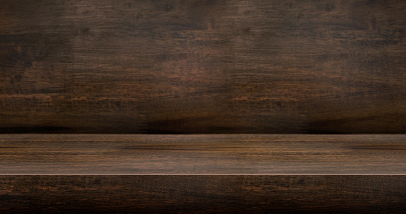 3D dark wood table studio background textured for product display with copy space for display of content design.Banner for advertise product on website.3d rendering.