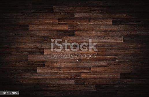 istock Dark wood texture for background, vignette border 887127056