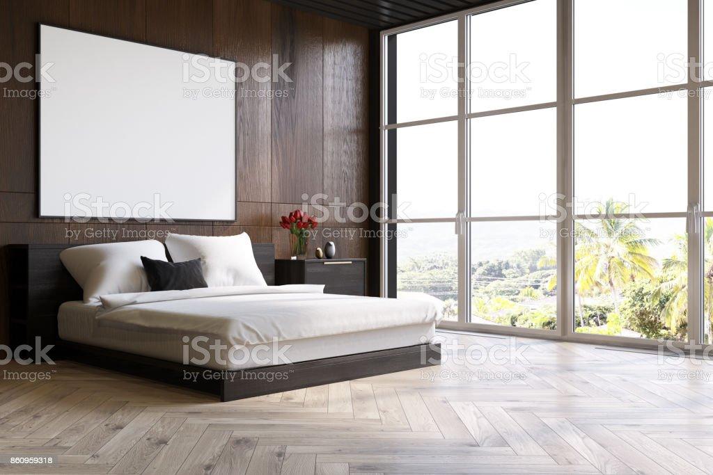 Dunkles Holz Schlafzimmer Mit Einem Plakat Seite Stockfoto Und Mehr Bilder Von Bett Istock