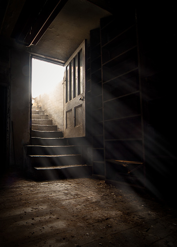 Dark and creepy wooden cellar door open at bottom of old stone stairs bright sun light rays shining through on floor making shadows and scary sinister abandoned basement room underground
