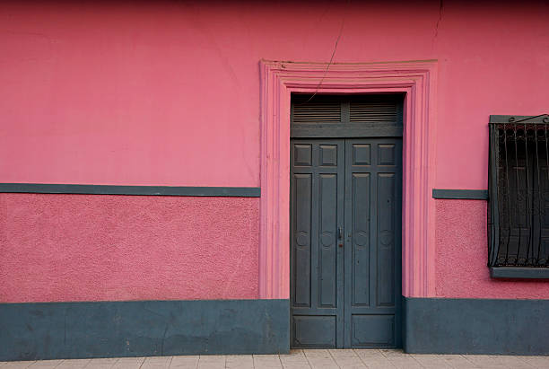 Dark wooden closed door and pink wall stock photo