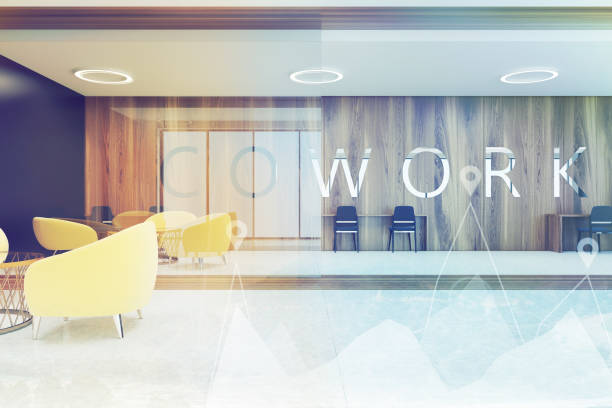 Dark wooden coworking, yellow armchair toned Coworking interior with dark wooden and black walls, concrete and wooden floor, round tables with black and yellow chairs. 3d rendering mock up toned image double exposure coworking stock pictures, royalty-free photos & images