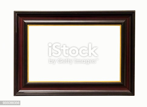 Dark Wooden Picture Frame On White Backround Stock Photo & More ...