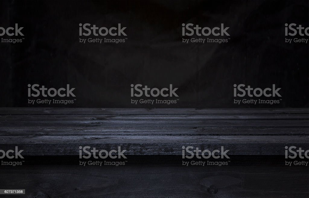 Dark wooden table for product display montage