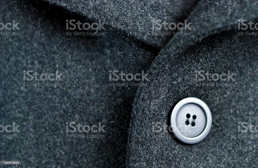 Dark wool coat with one black button royalty-free stock photo