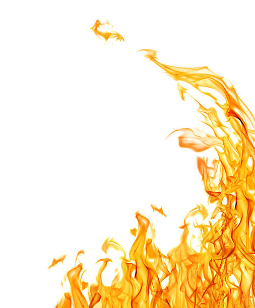 dark yellow flame corner isolated on white - 火焰 個照片及圖片檔