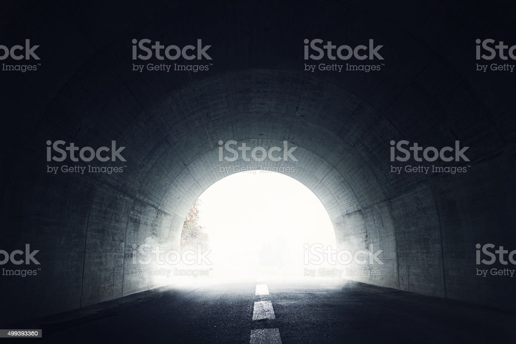 Darken tunnel with fog stock photo