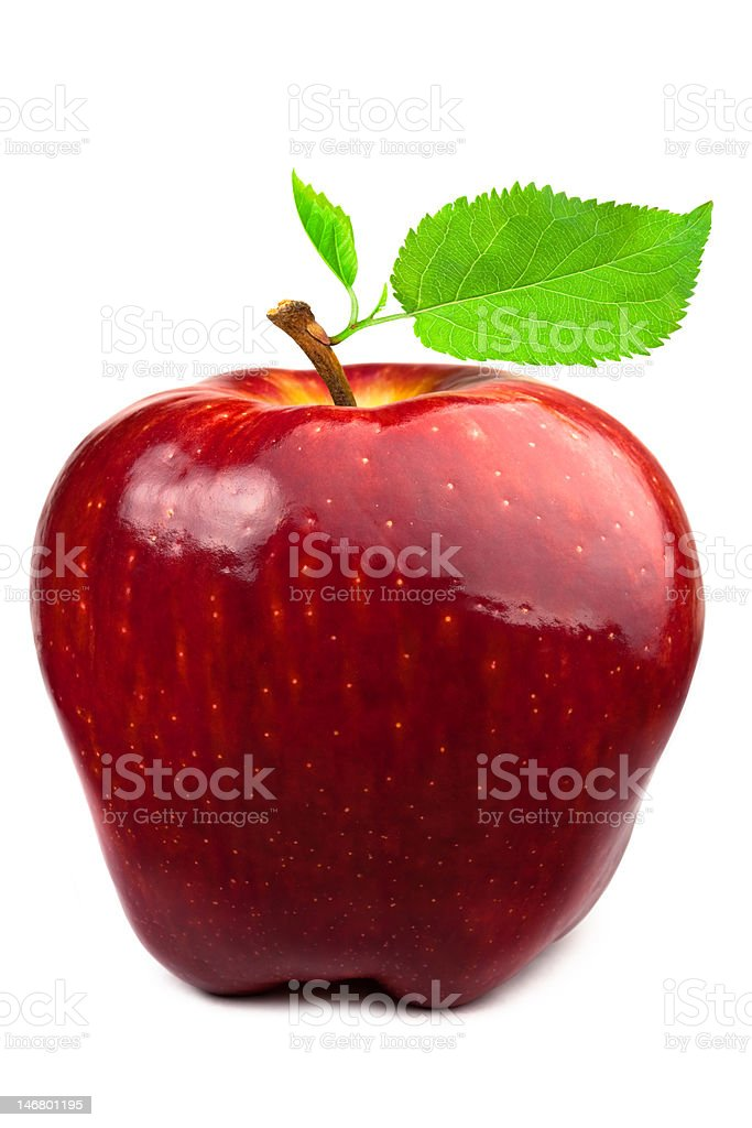 Dark-red apple with leaves royalty-free stock photo