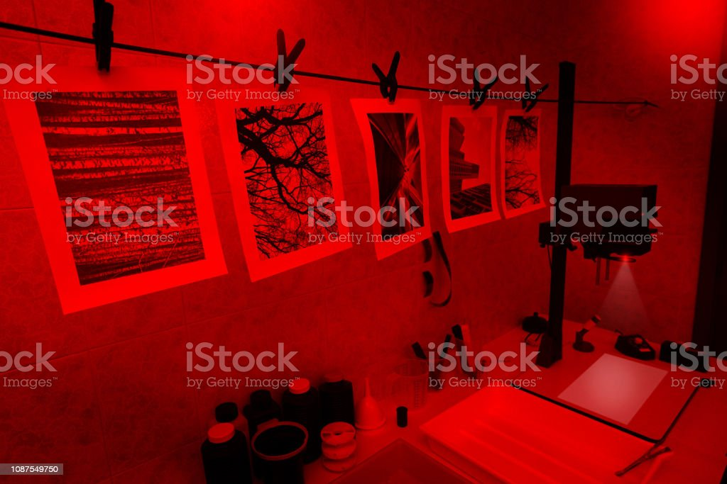 Darkroom for printing film photography stock photo